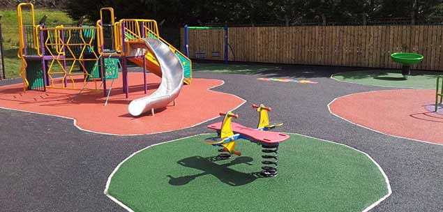 playground with wetpour rubber surface