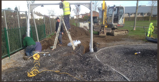 Construction of the playground in Dublin including equipment installation