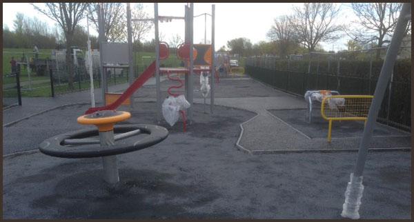 Playground surface installation